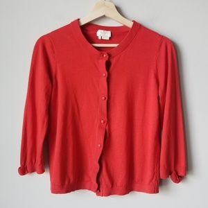 Kate Spade Silk Blend Red Cardigan Bow Sleeve